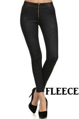 Yelete Fleece Black Jean Jegging Regular fit Skinny Leg Winter