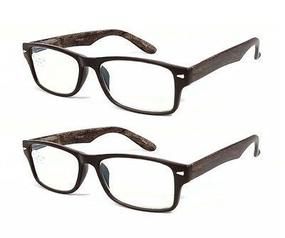 FOCUS Anti-Glare Reading Glasses 2-Pack Reduces Blue Light Wood look temples