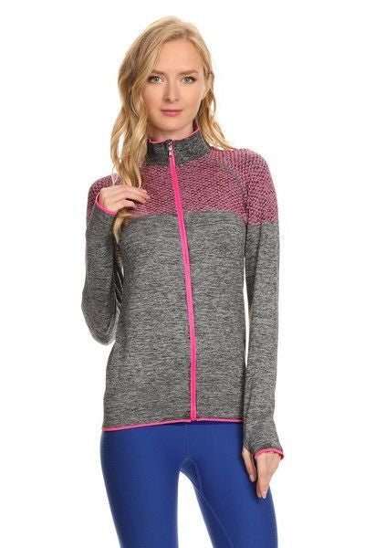 Yelete Stella Elyse Active Living Jacket Marled Knit Charcoal & Pink contrast