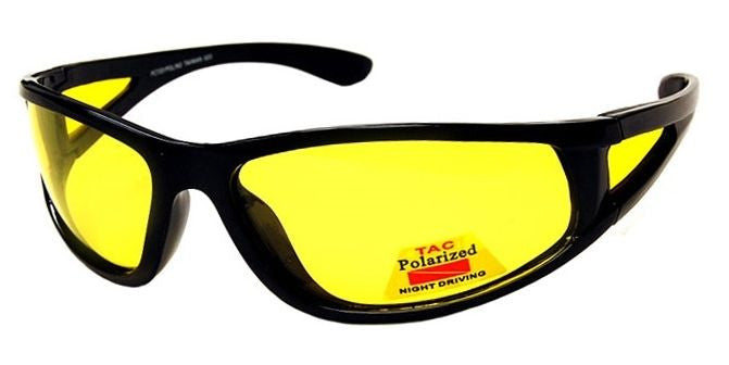 Focus Anti-Glare Night Driving Glasses Polarized Light Yellow Lens Glossy Black
