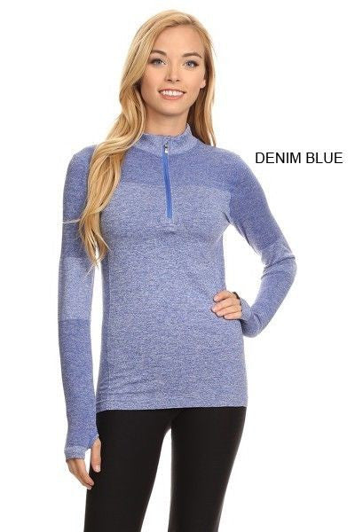 Yelete Stella Elyse Active Living 1/4 Zip Pullover Top Marled Knit Denim Blue