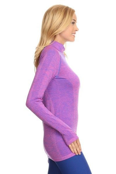 Yelete Stella Elyse Active Living 1/4 Zip Pullover Top Marled Knit Purple