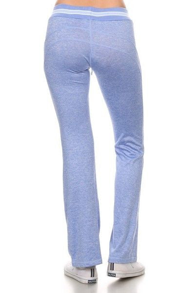 Yelete Yoga Pants Full Length Light Heather Blue Relaxed Fit waist tie closure