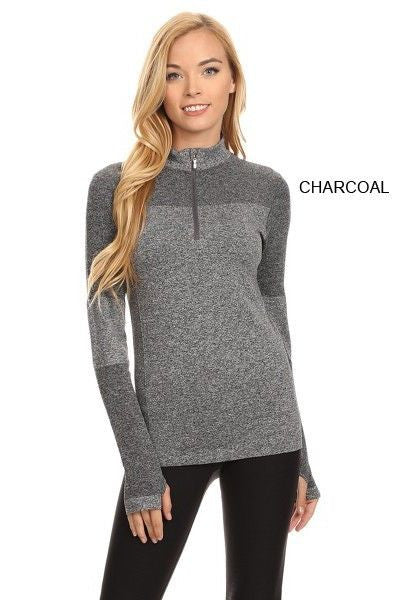 Yelete Stella Elyse Active Living 1/4 Zip Pullover Top Marled Knit Charcoal