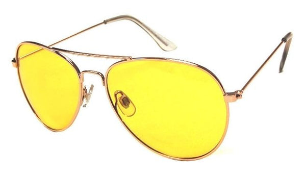 FOCUS ANTI-GLARE Night Driving Glasses Metal Aviator Yellow Lens Reduces Glare