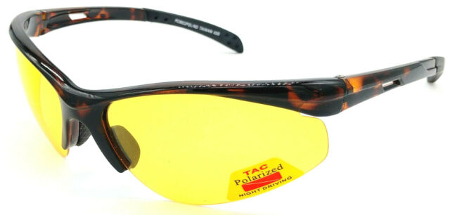 GLARE-X Night Driving Optics Yellow Polarized Lenses Reduce Glare Semi-Rimless Glossy Tortoise