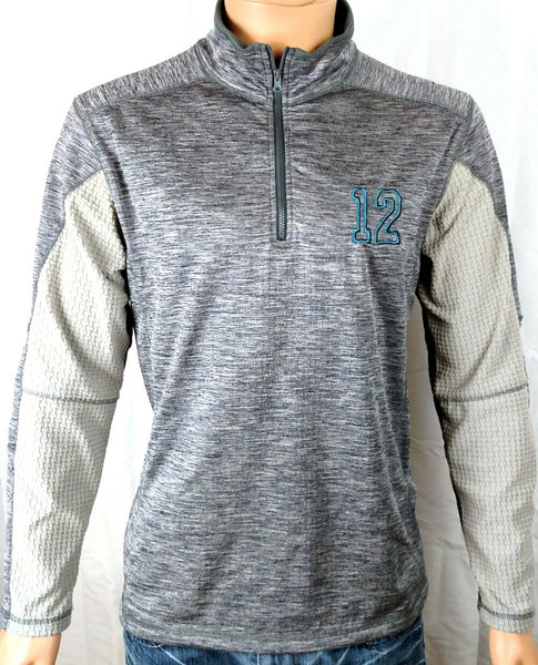 Seattle Seahawks inspired 12 Go Hawks 1/4 Zip Base Layer Navy Heather Gray