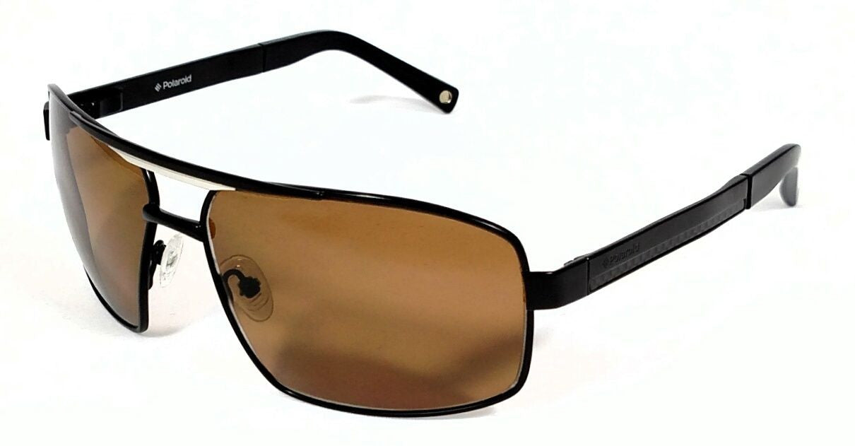 Polaroid PDX4104Z Matte Black Square Aviator Premium Brown Polarized lens
