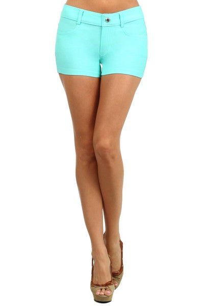 Yelete Turquoise Denim look Women's Jegging Shorts