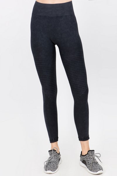 Vintage Wash Moto Detailed Seamless Tights - Black
