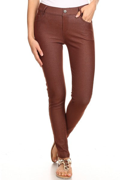 Yelete Women's Cotton-Blend 5-Pocket Skinny Jegging Coffee