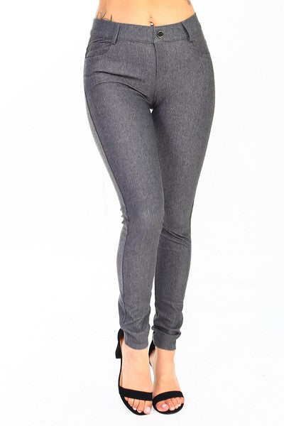 Yelete Women's Cotton-Blend 5-Pocket Skinny Jegging grey