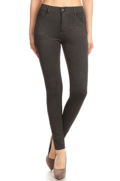 Yelete Lady's Mid Rise Ponte Knit Skinny Pants Heather Charcoal