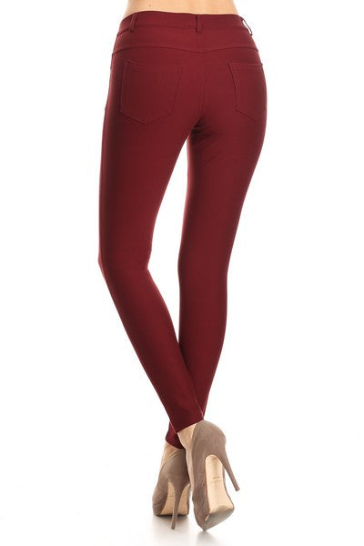 Yelete Lady's Mid Rise Ponte Knit Skinny Pants - Wine