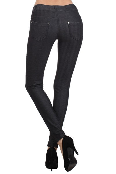 Yelete Women's Herringbone Skinny 5 Pocket Jeggings Black