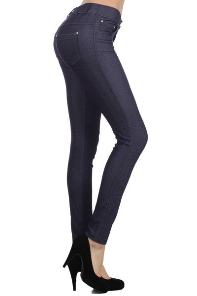 Yelete Women's Herringbone Skinny 5 Pocket Jeggings Navy