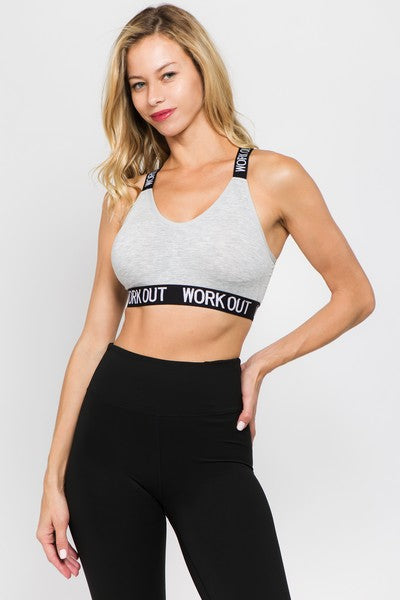 "Women's ""Work Out"" Logo Band Athletic Sports Bra - Grey/Black by Yelete"