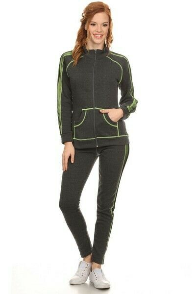 NEW * Yelete Women's Side Colored Mesh Active Wear Set - Gray & Neon Green