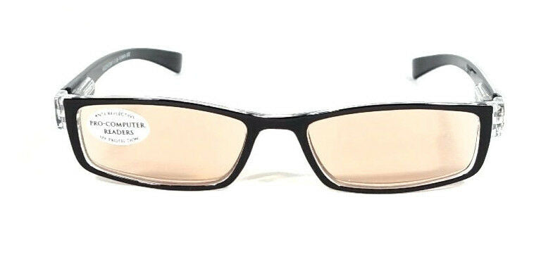 FOCUS ANTI-GLARE Reading Glasses Reduces Blue Light & Eye Fatigue Black & Clear