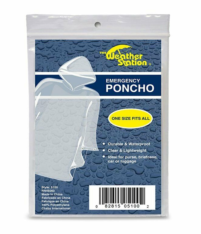 Weather Station Emergency Poncho Clear Lightweight One Size fits all