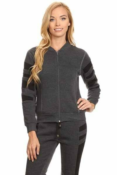 Yelete Micro-Fleece Activewear Full Zip Jacket & Pant Set Charcoal and Black