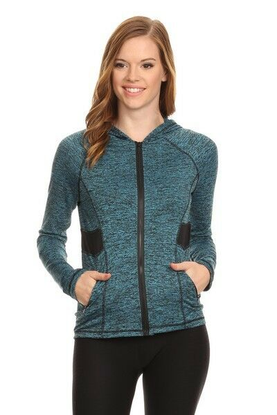 Yelete Activewear Full Zip Jacket Hoodie Turquoise heathered with Black contrast