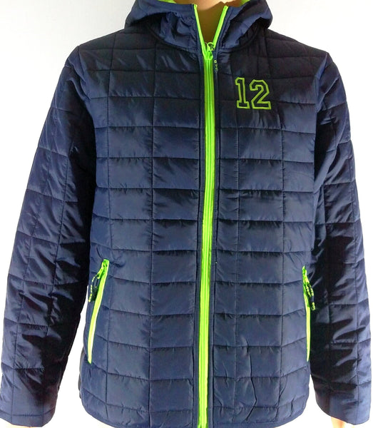 Seattle Seahawks inspired 12 Go Hawks Packable Insulated Jacket Layer Navy Lime