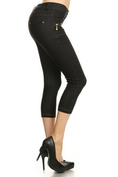 Yelete Original Lady's 4 pocket Capri Black Jean Jegging Regular fit
