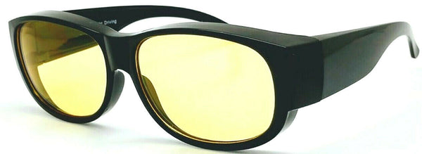 OTG Focus Anti-Glare Night Driving Over-the-Glass Black with Yellow lens Medium-Large