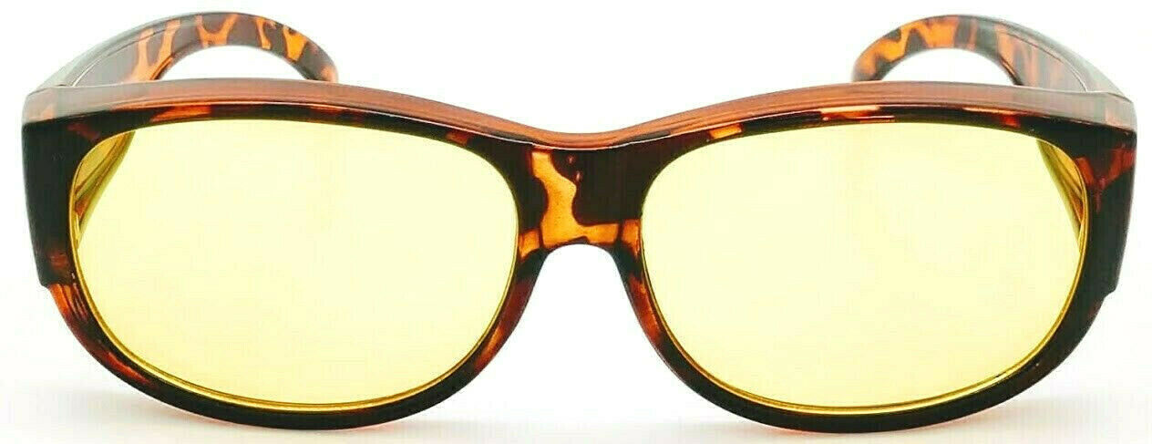 OTG Focus Anti-Glare Night Driving Over-the-Glass Tortoise with Yellow lens Medium-Large