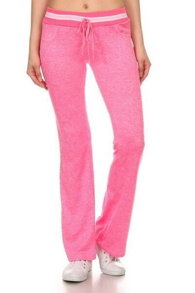 Yelete Yoga Pants Full Length Heather Fuchsia Pink Relaxed Fit waist tie closure