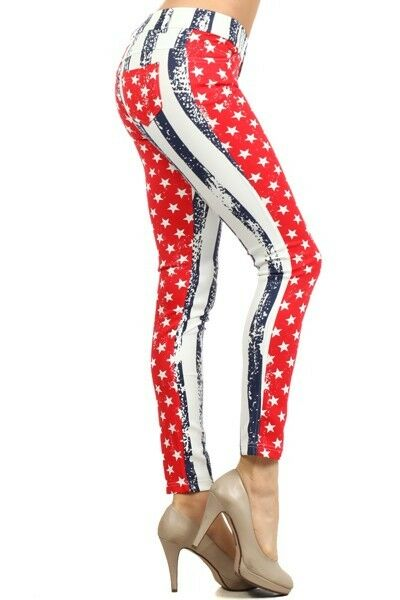 Yelete American Flag Red White & Blue Jegging 5 Pocket Regular Fit