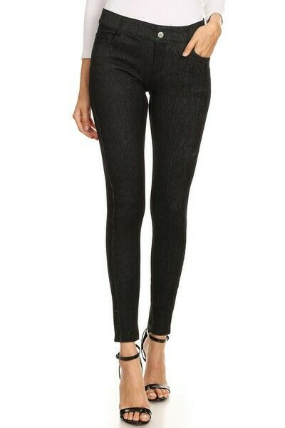 Yelete Original 5 Pocket Soft Knit Skinny Jeggings Black