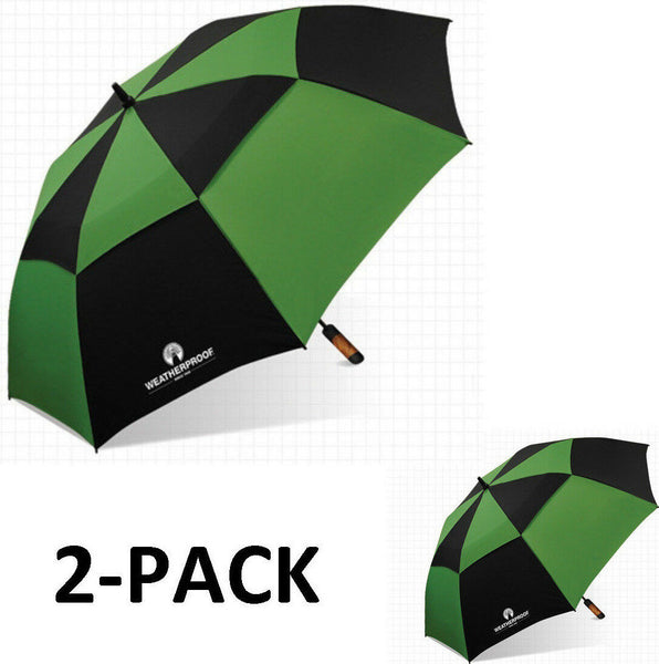 "WeatherProof 60"" 2-Pack Double Canopy Fiberglass Auto Jumbo Golf Umbrella"