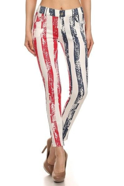 Yelete American Flag Red White & Blue Stripe Original 5 pocket jegging