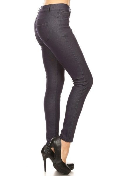 Yelete Women's Cotton-Blend 5-Pocket Skinny Jegging Navy