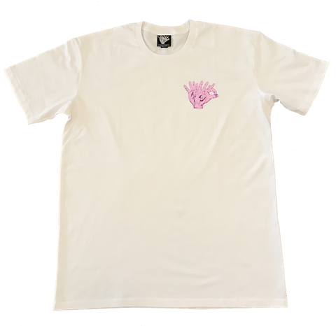 Pocket Hands T-Shirt - PINK/WHITE