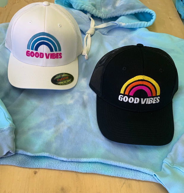 Good Vibes Only Snap Back Trucker Hat , Good Karma Trucker Hat / Postive Vibes Meach Back Trucker Hat