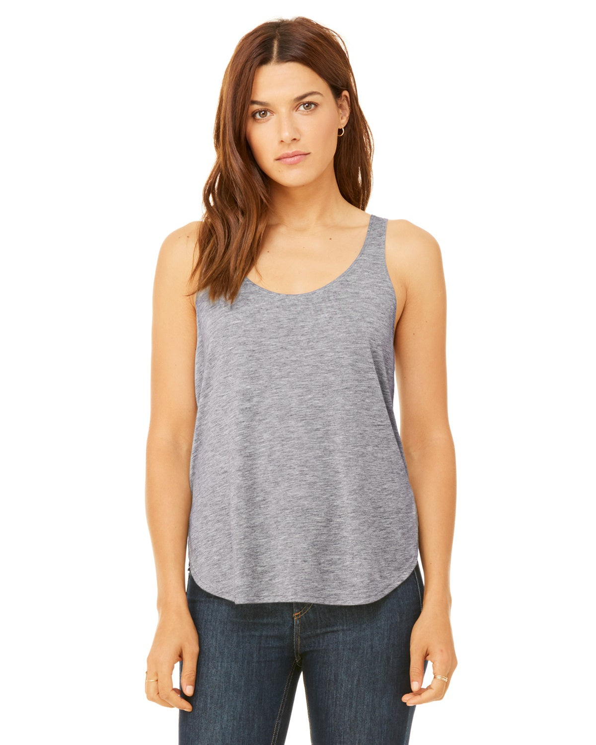 J'Adore Grey Ladies Tank Top with side slits