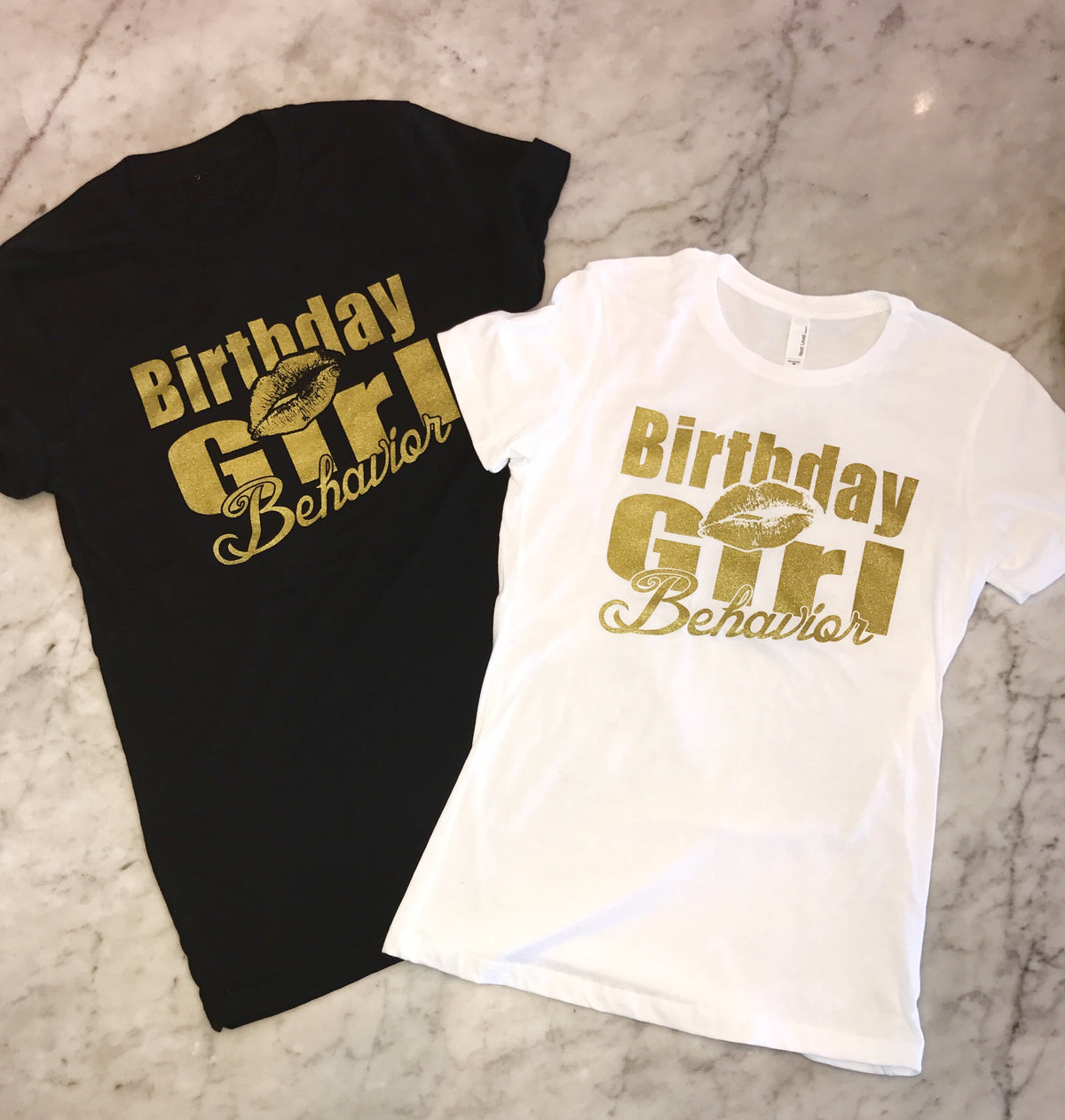Birthday Behavior Boyfriend Tee in White or Black with Gold Shimmer Ink
