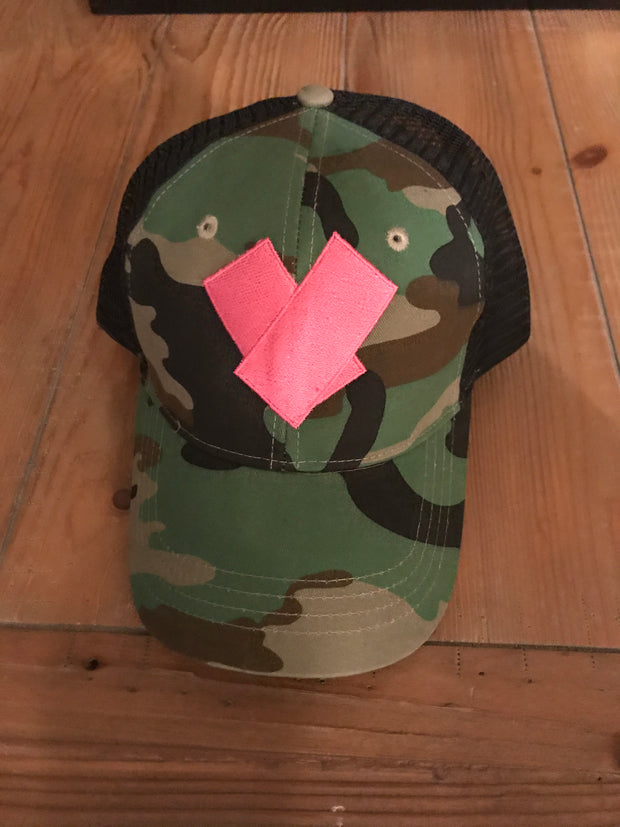Perfect Camouflage Trucker Hat with Heart Adjustable Back