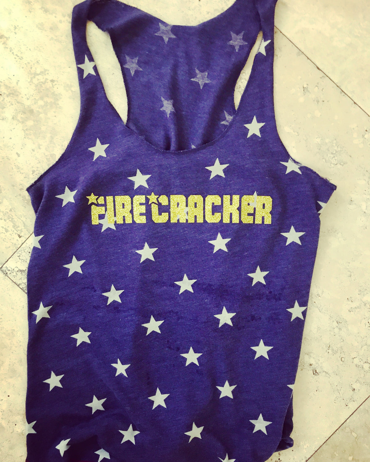 Firecracker Fourth of July Star Ladies Tank Top