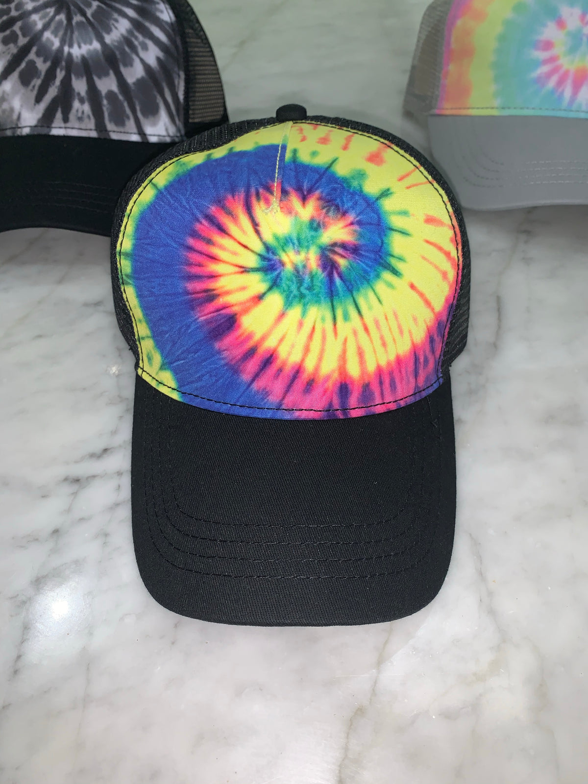 Tie Dye Trucker Hat Snap Back Mesh Sides