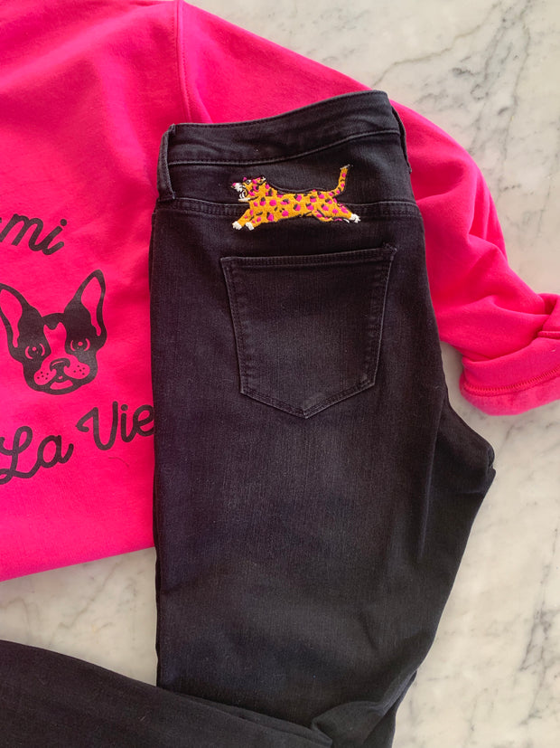 Feeling Feline Black Denim Jeans Leopard Embroidery