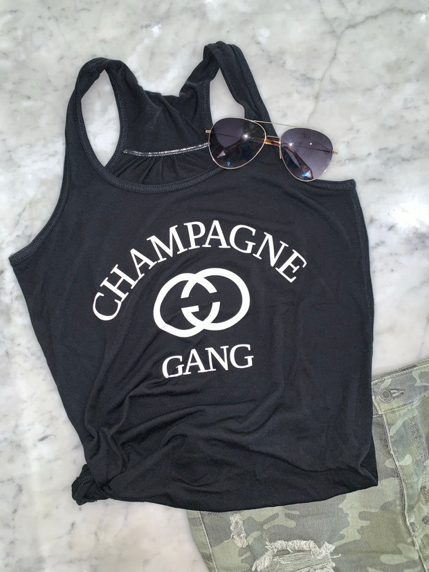 Champagne Gang Tank Top , Perfect for Girls Brunch Shirt, Trip Shirt