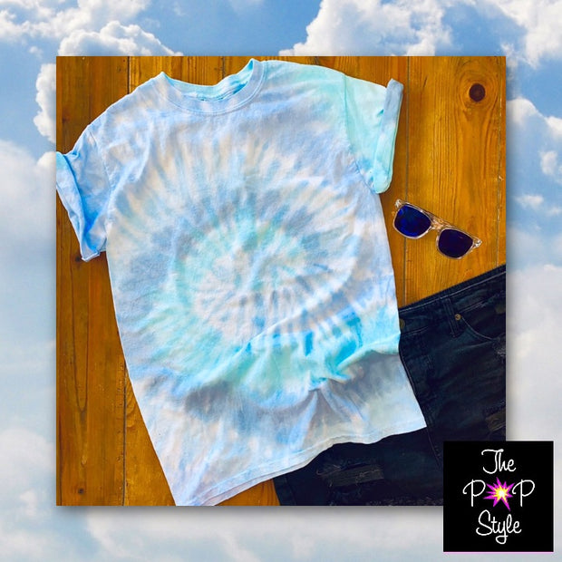 Ocean Blue Tie Dye Shirt Custom Made in USA