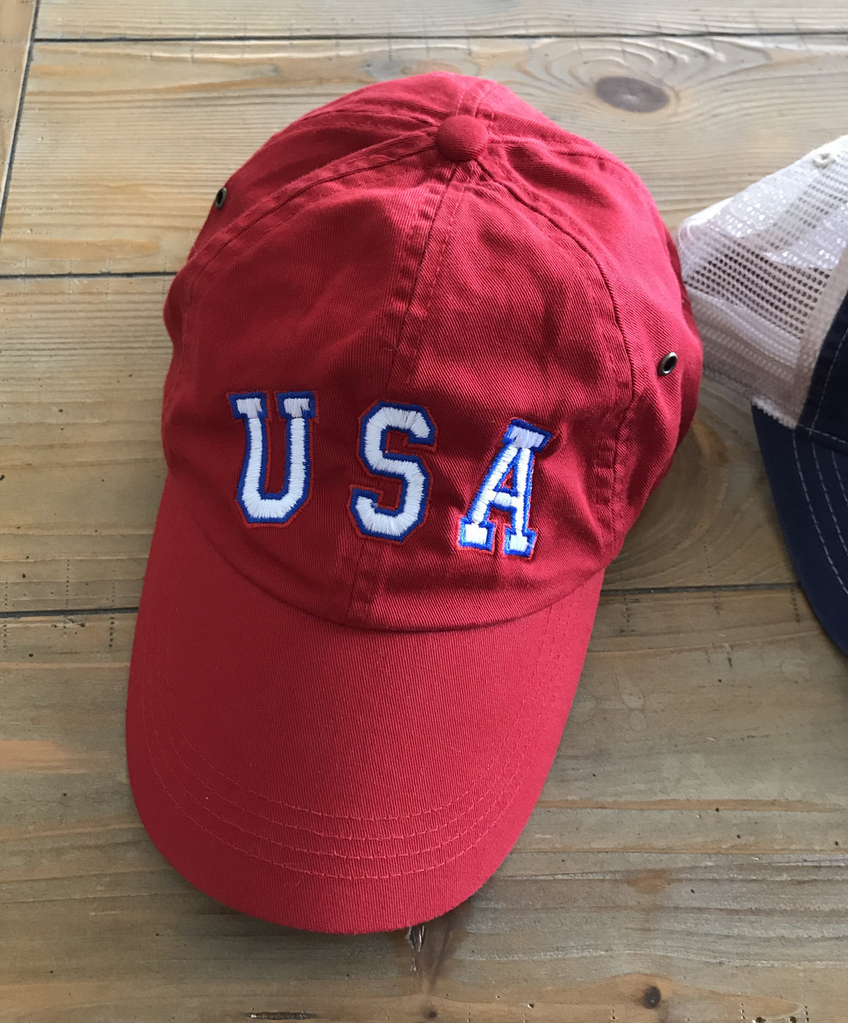 Red Relaxed Fit USA Adjustable Twill Dad Hat