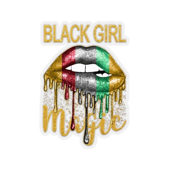Black Girl Magic, Sexy Lips Sticker, Faux Glitter, Pan African Flag Red Green, Kiss Decal, Tumbler Sticker, Laptop Sticker, Phone Sticker