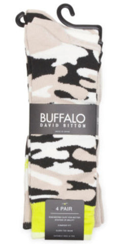 Buffalo David Bitton NWT Black Combo Camo 4-Pack Socks Size 10-13 (Shoes 6-12.5) - Swanky Bazaar