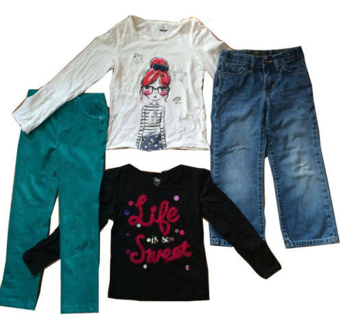The Children's Place NEW $68 Girl's Tops, Jeans & Pants 4-Pc Lot - Sz Small 5/6 - Swanky Bazaar - 1